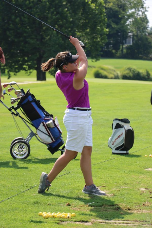 Lizzie Lytle tees off during a match at the Kokomo Country Club last season. Lytle and the LadyKats match up with Tipton on Thursday.