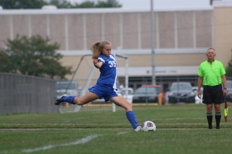 Senior Whitney Pierce lines up for a goal kick during a home soccer game at Kokomo High School