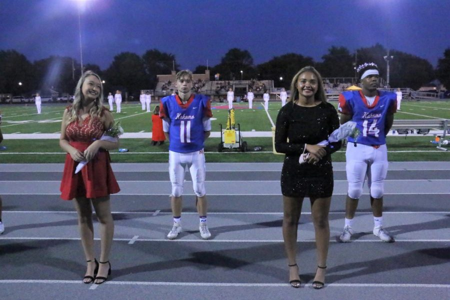 With all of the new restrictions and guidelines, many things are different at KHS this year. Even though students still got to celebrate Homecoming, court members had to stand six feet apart while being recognized at half time.