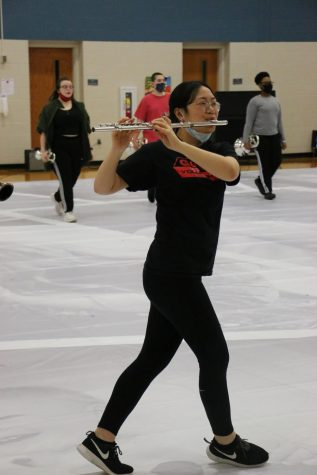 Freshman Helen Qiu rehearses with the Indoor Winds. This year, the ensemble