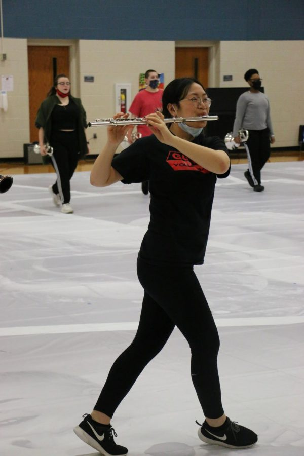 Freshman Helen Qiu rehearses with the Indoor Winds. This year, the ensemble's show is called