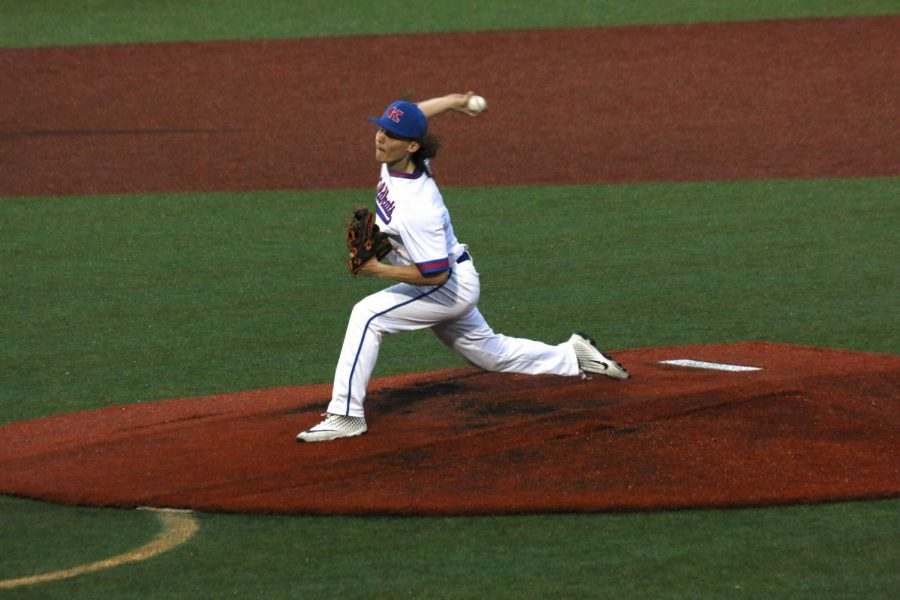 Senior Cayden Belt pitches for the Wildkats during a 2019 game. The Wildkats' spring seasons were canceled last year amidst the Covid-19 pandemic.